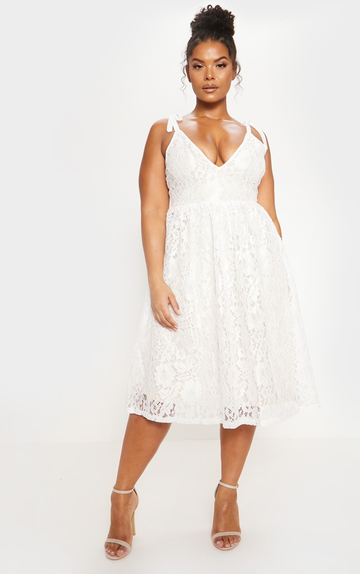 White Lace Strappy Plunge Midi Dress