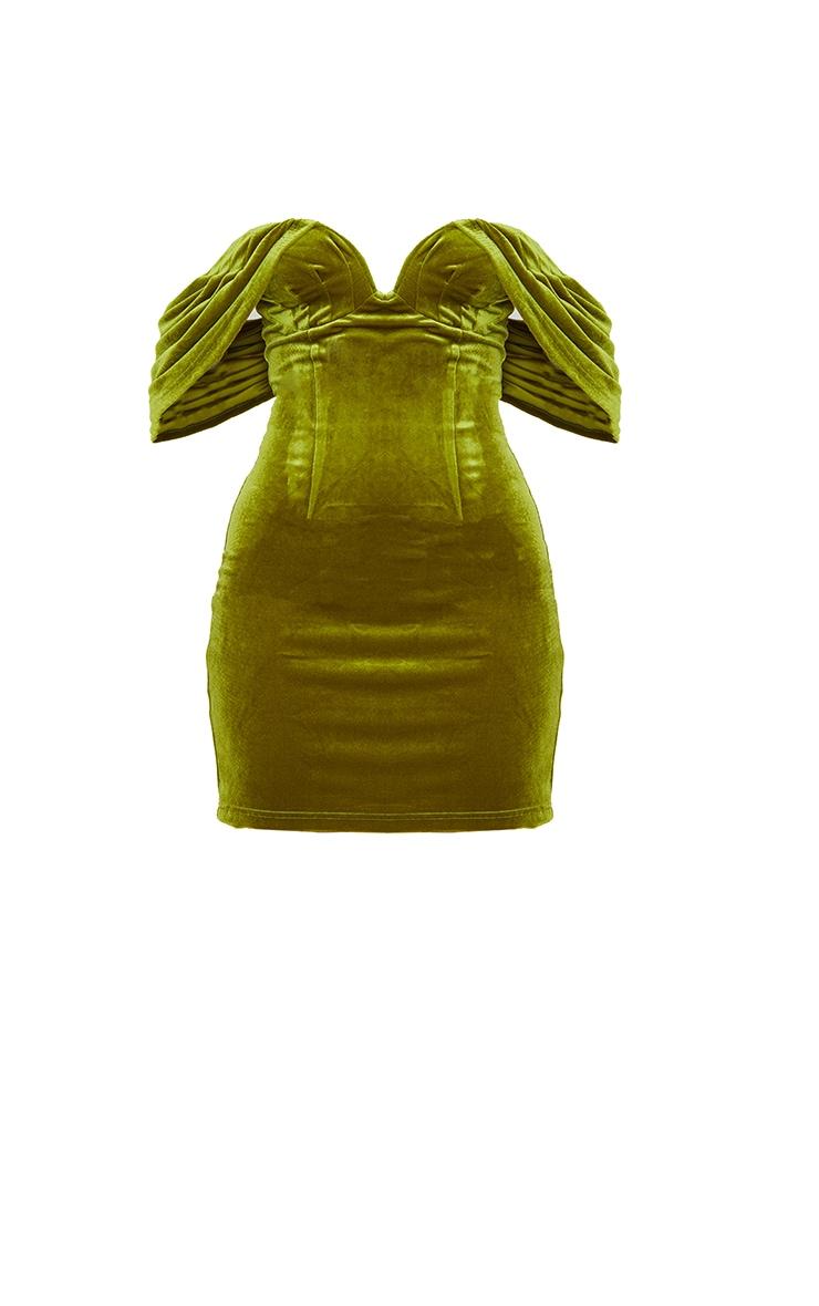 Olive Velvet Plunge Bardot Bodycon Dress 5
