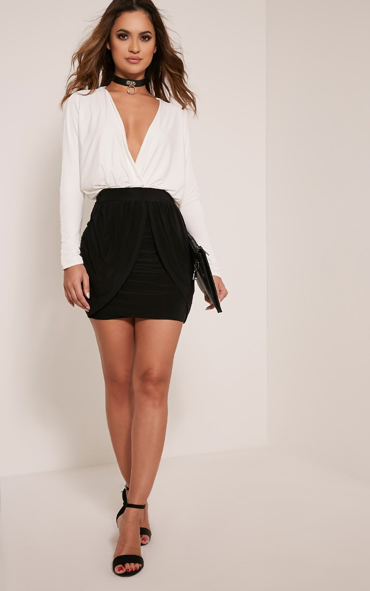 Kelsie Black Drape Layered Slinky Mini Skirt 6