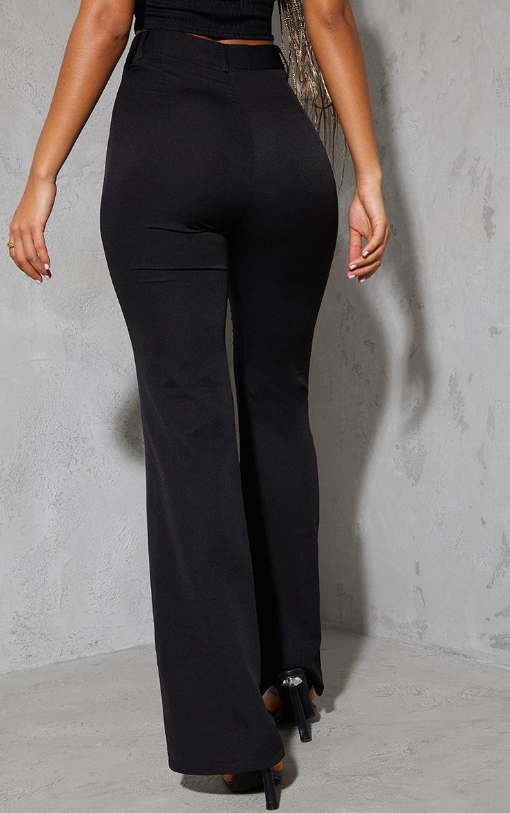 Black Woven V Front Pintuck Wide Leg Pants 3