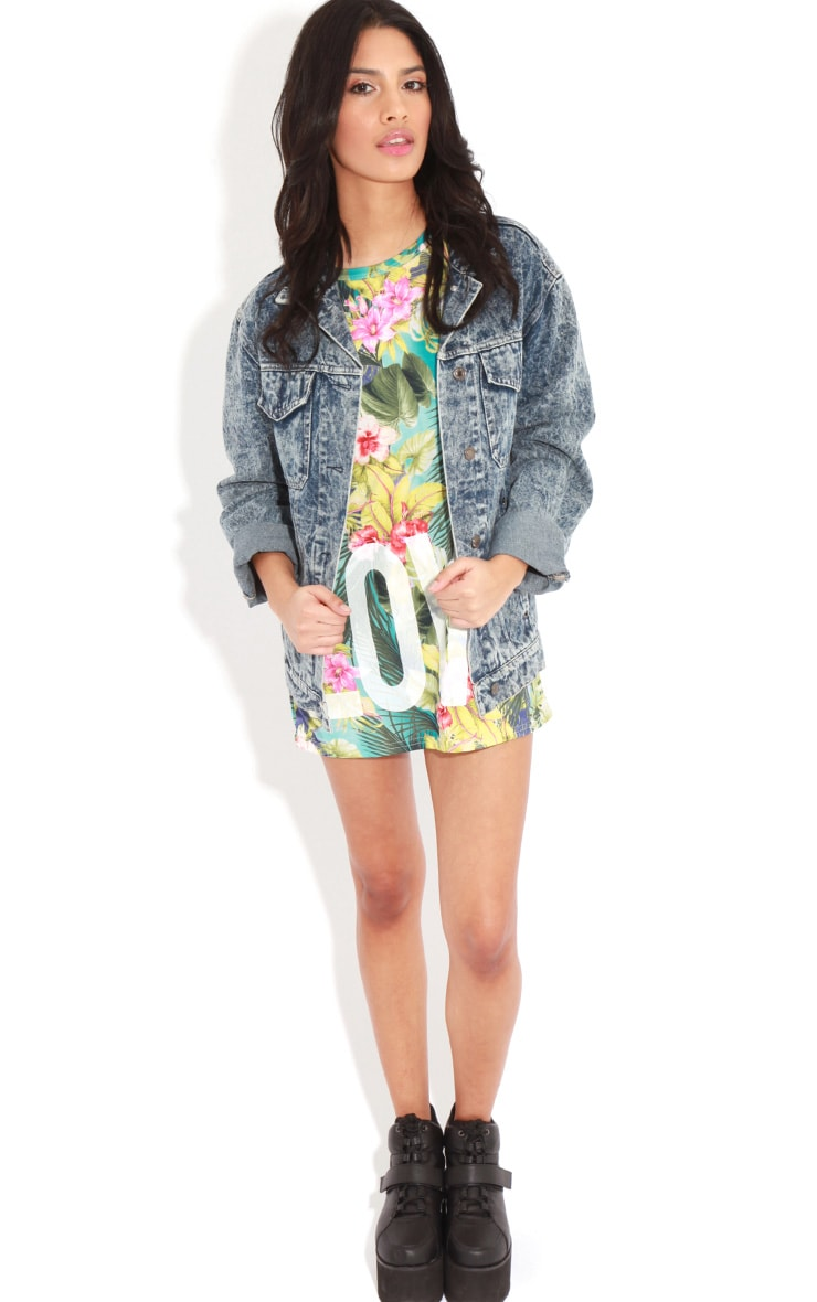Makayla Turquoise Floral Love Life Sports Tee 3