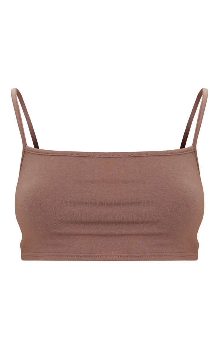 Brown Cotton Stretch Strappy Crop Top  3