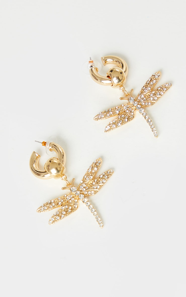 Gold Oversized Diamante Dragonfly Earrings 2
