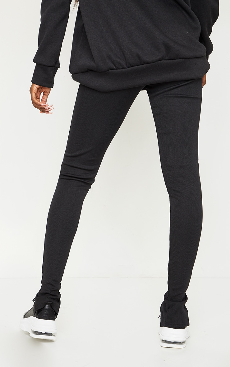 Tall Black Structured Ribbed Front Split Hem Legging 3