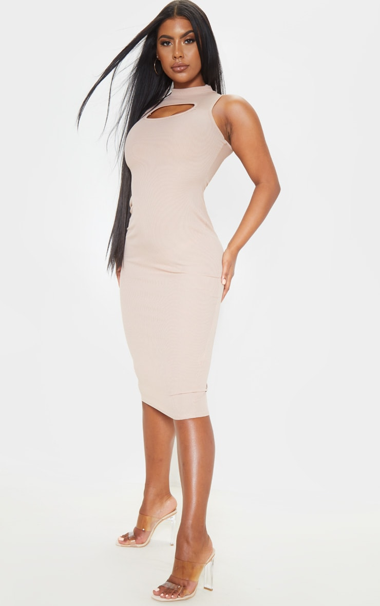 Stone High Neck Cut Out Midi Dress 4