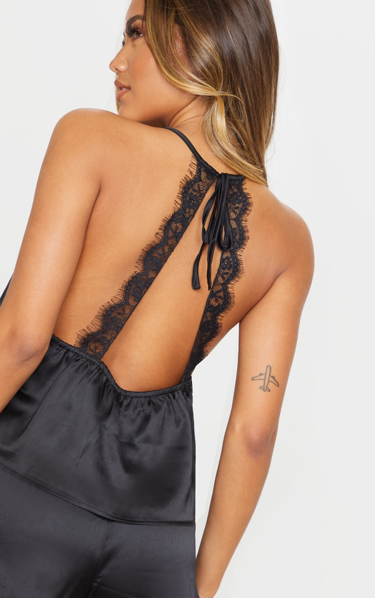 Black Lace Back Cami Satin Pj Set 5