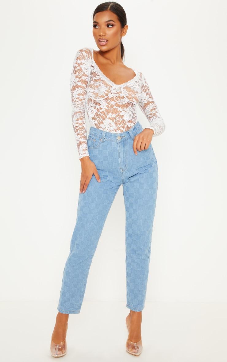 White Lace Mesh Long Sleeve Bodysuit 5