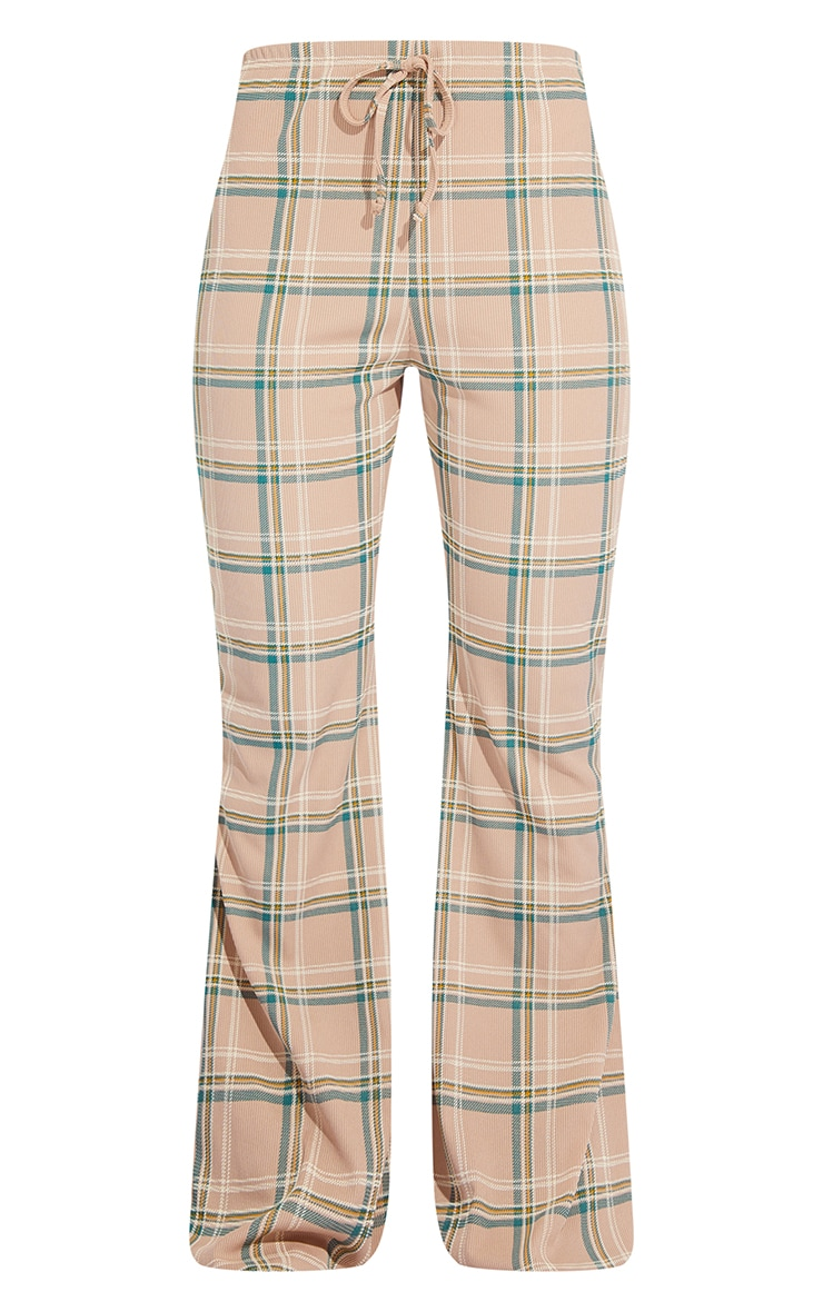 Stone Check Ribbed Flared Pants 5