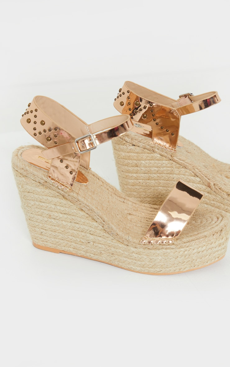 Rose Gold Espadrille Wedge Sandals 3