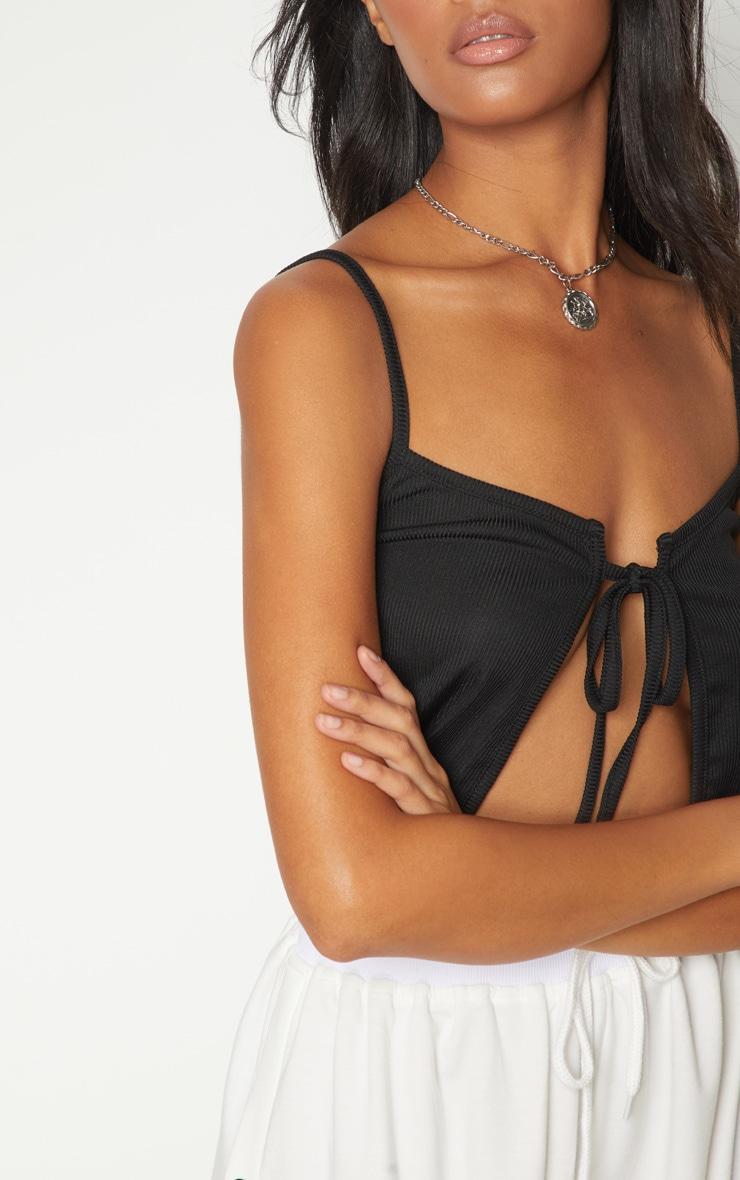 Black Rib Cami Tie Front Crop Top 5