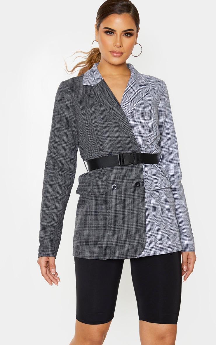 Tall Black Contrast Buckle Belt Blazer 1