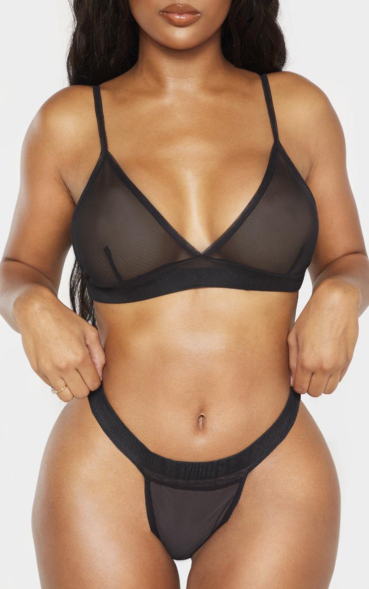 Shape Black Mesh Thong 5