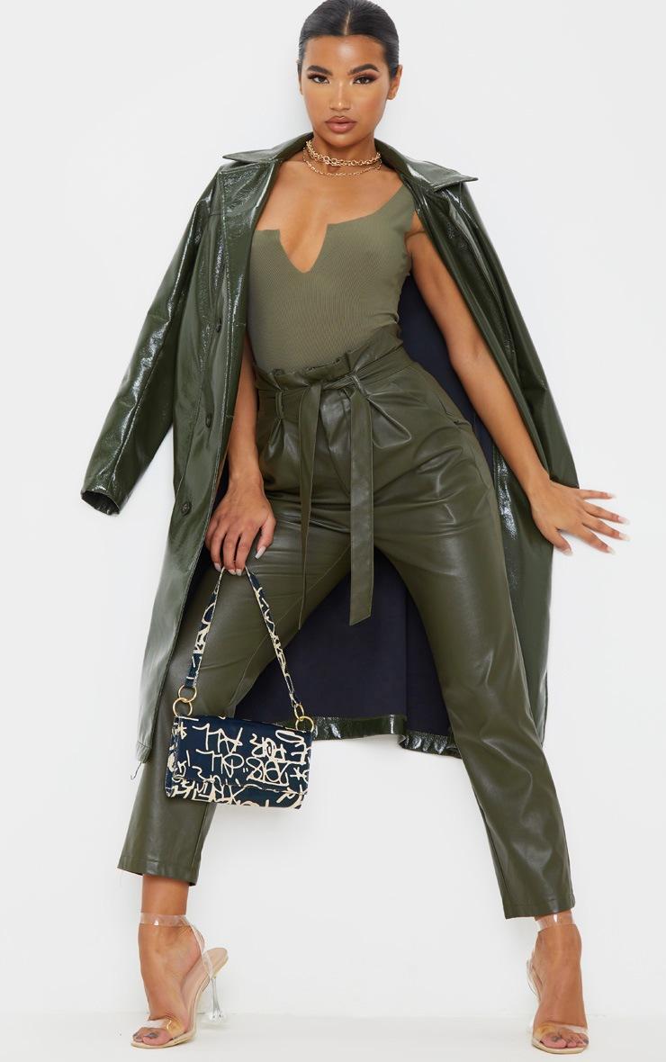 Sage Khaki Rib Raw V Sleeveless Bodysuit 5