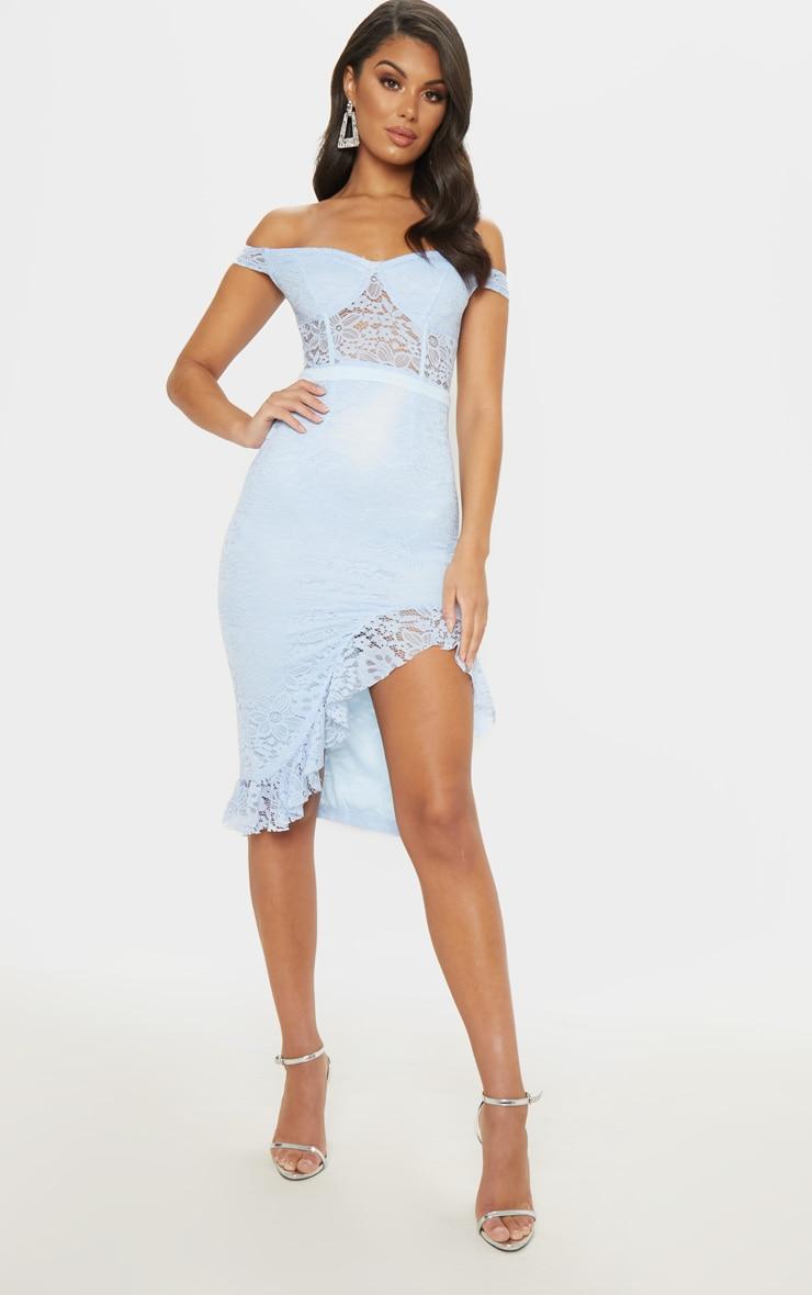 Dusty Blue Lace Bardot Sheer Panel Frill Hem Midi Dress 1