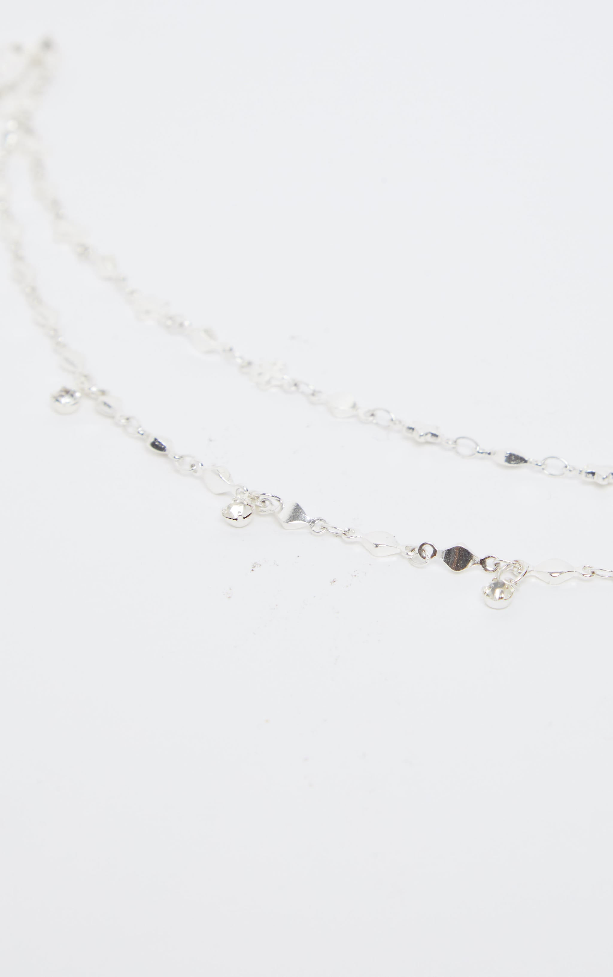 Silver Double Layer Stars And Diamante Chain Anklet 2
