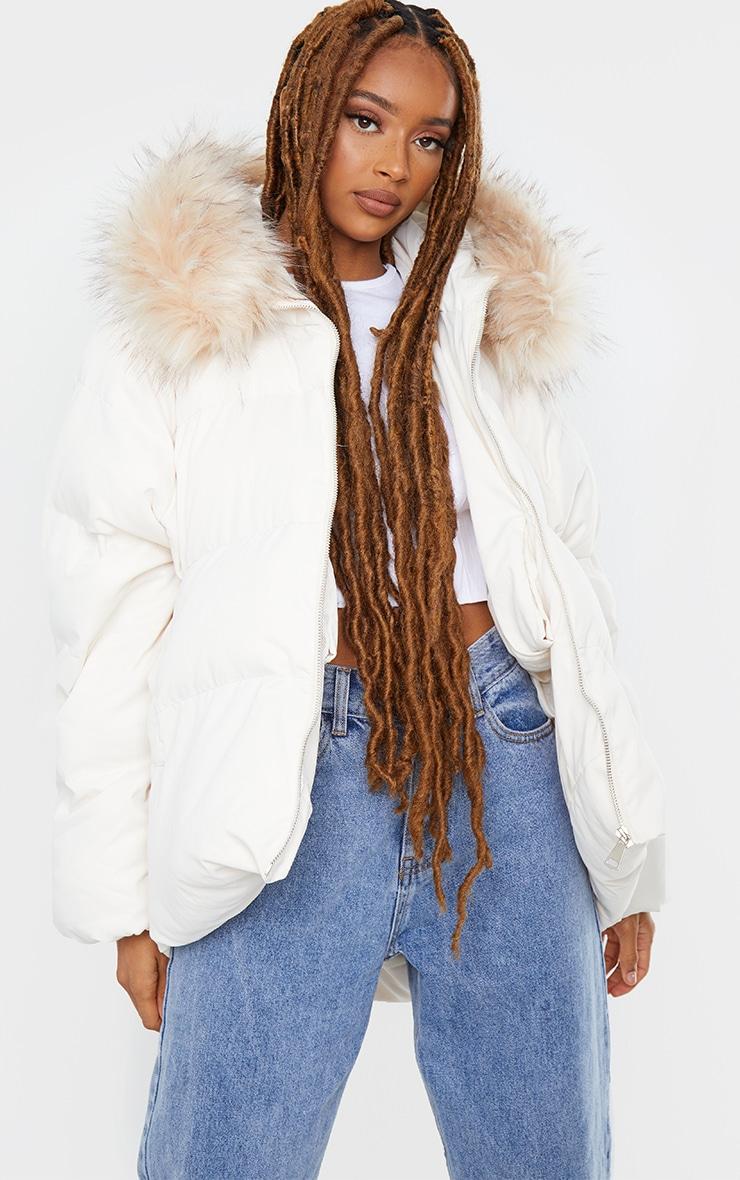 White Oversized Soft Touch Dip Hem Faux Fur Hood Puffer Coat 1
