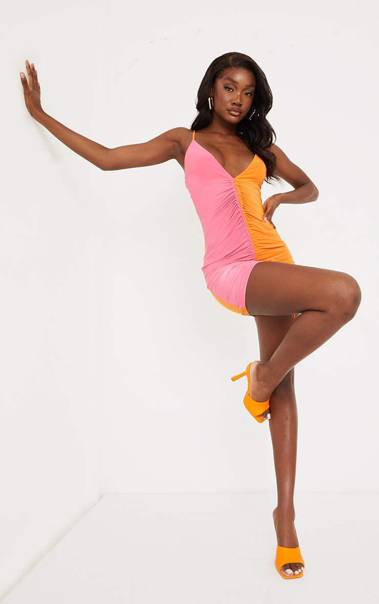 Tall Orange Contrast Slinky Ruched Strappy Mini Dress 3