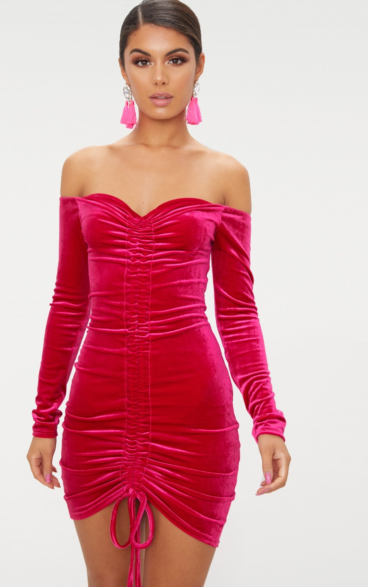 Pink Velvet Bardot Long Sleeve Ruched Bodycon Dress 1