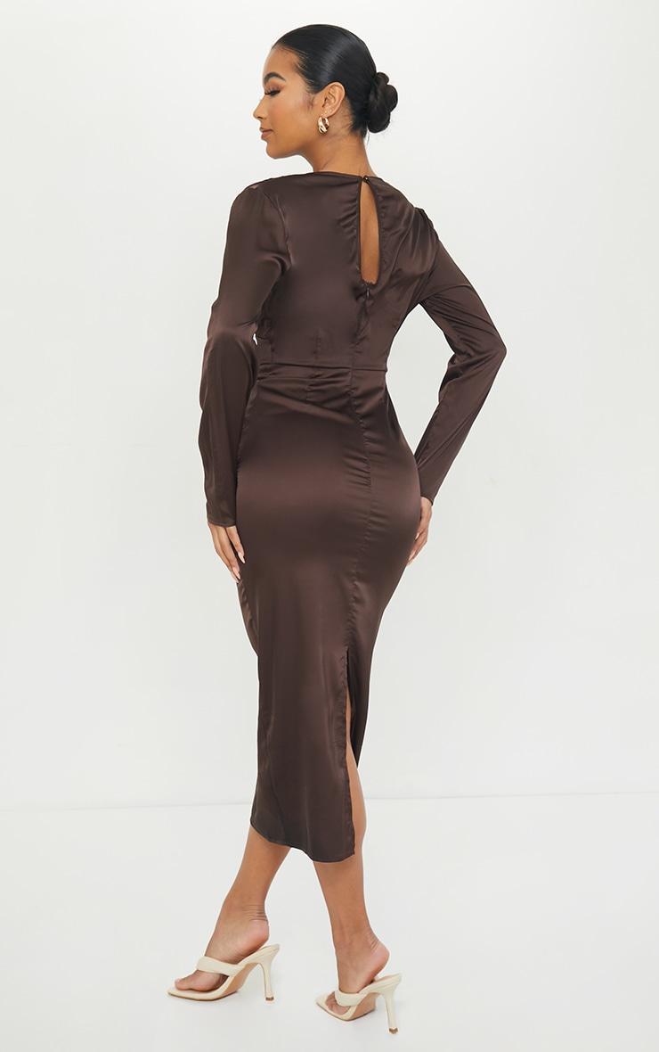 Chocolate Satin Long Sleeve Bust Seam Midi Dress 2