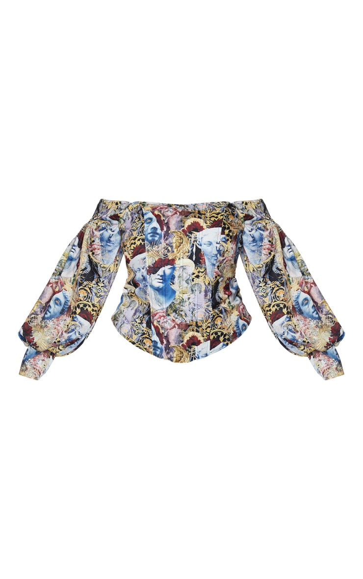 Plus Multi Renaissance Bardot Balloon Sleeve Corset Top 3