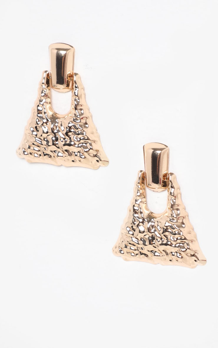 Gold Hammered Triangle Shaped Doorknocker Earrings 2