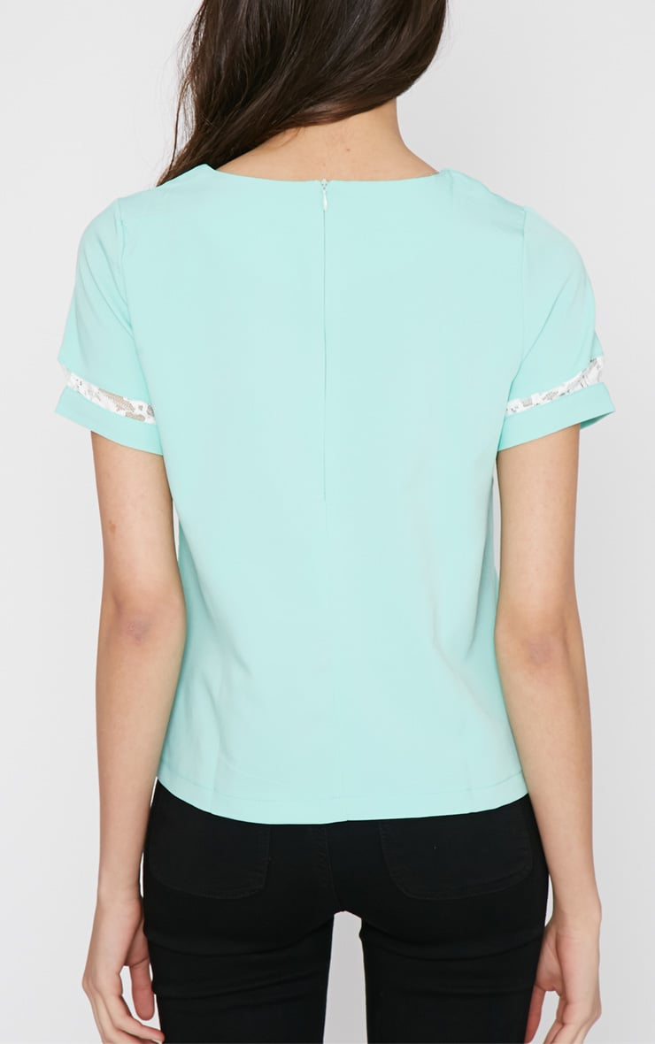 Angelina Mint Boxy Top with Lace Detail 2
