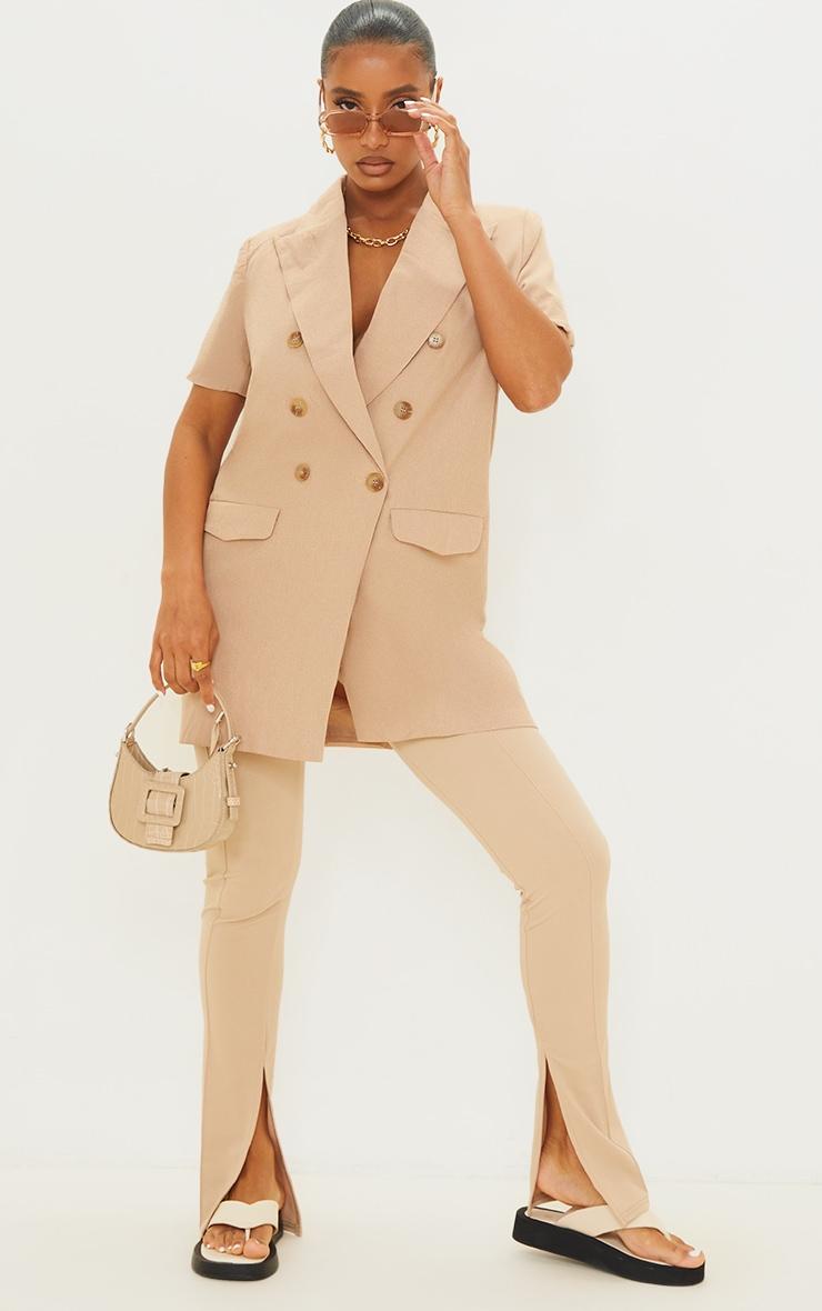 Beige Woven Short Sleeve Longline Blazer 1