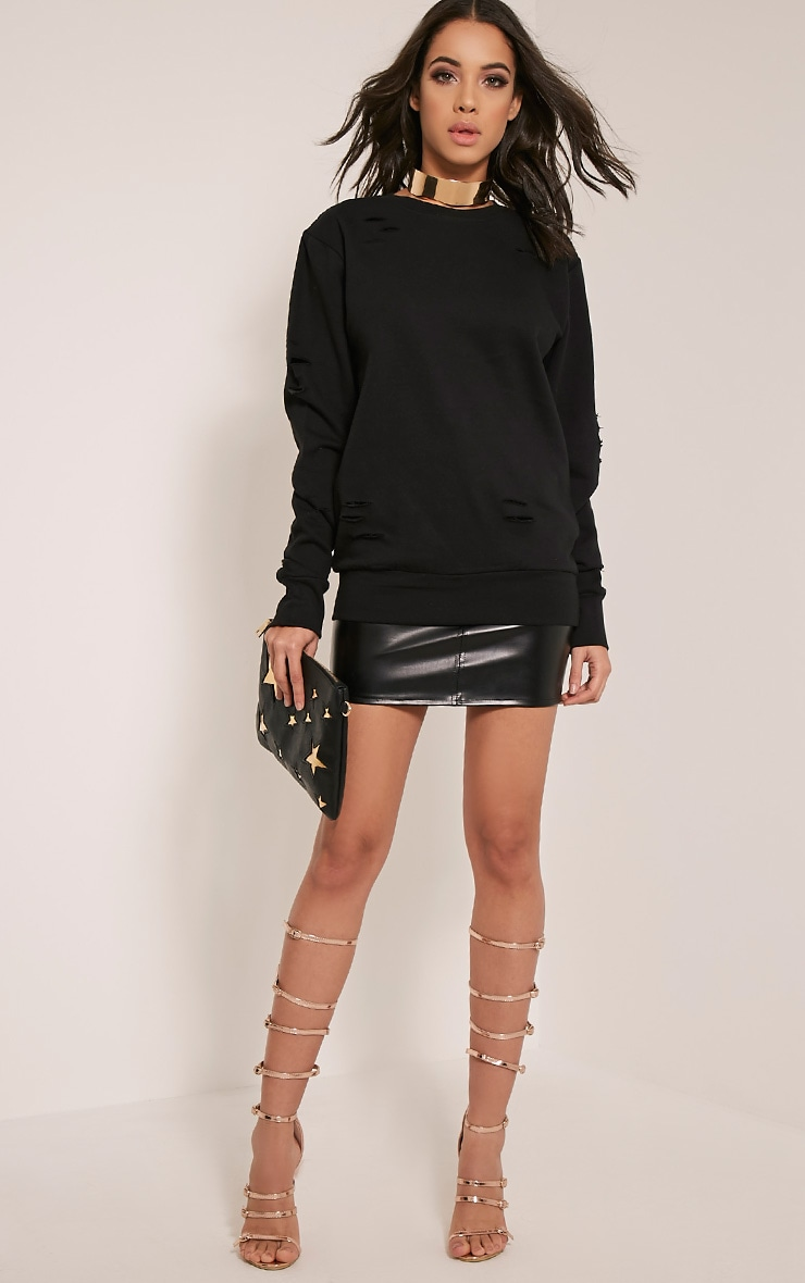 Jadey Black Ripped Oversized Sweatshirt 1