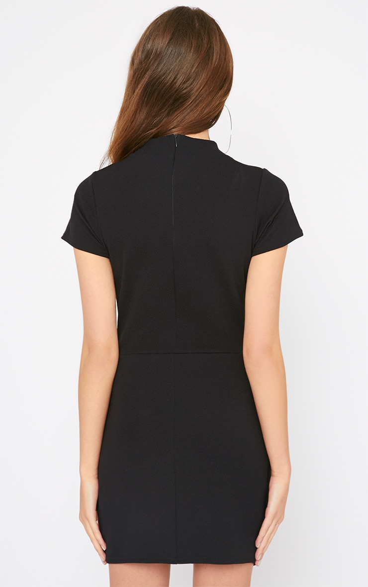 Kati Black Crepe Turtle Neck Wrap Front Mini Dress 2