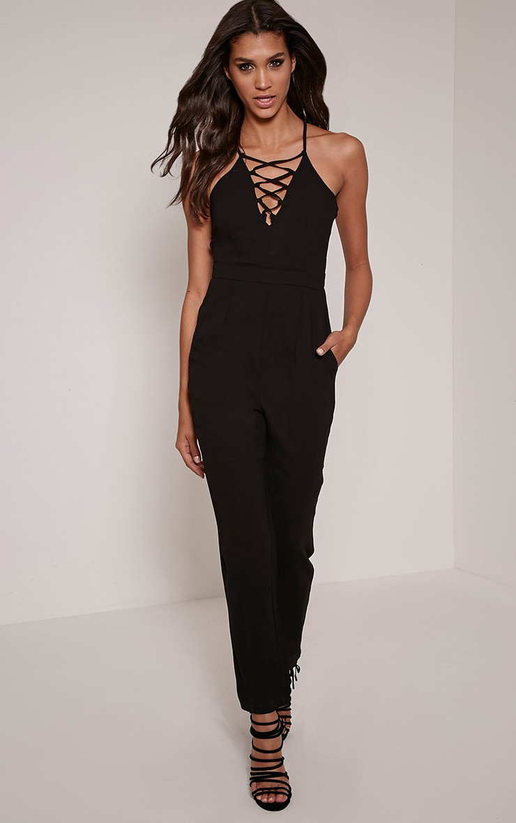 Aishina Black Lace Up Insert Jumpsuit 4
