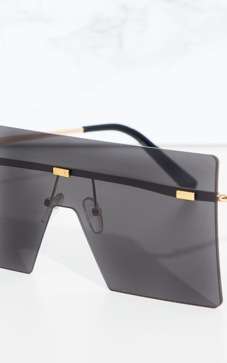 Black Frameless Square Sunglasses 3