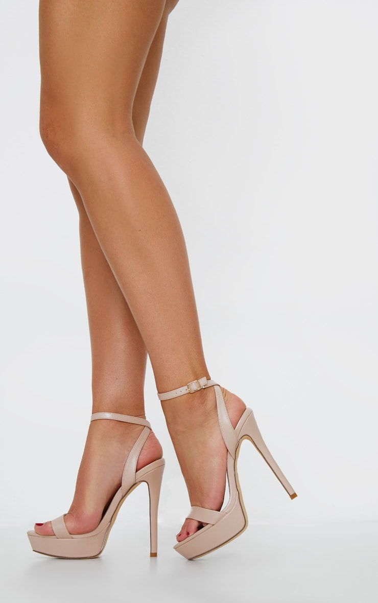 Nude PU Platform Stiletto Heeled Sandals 1