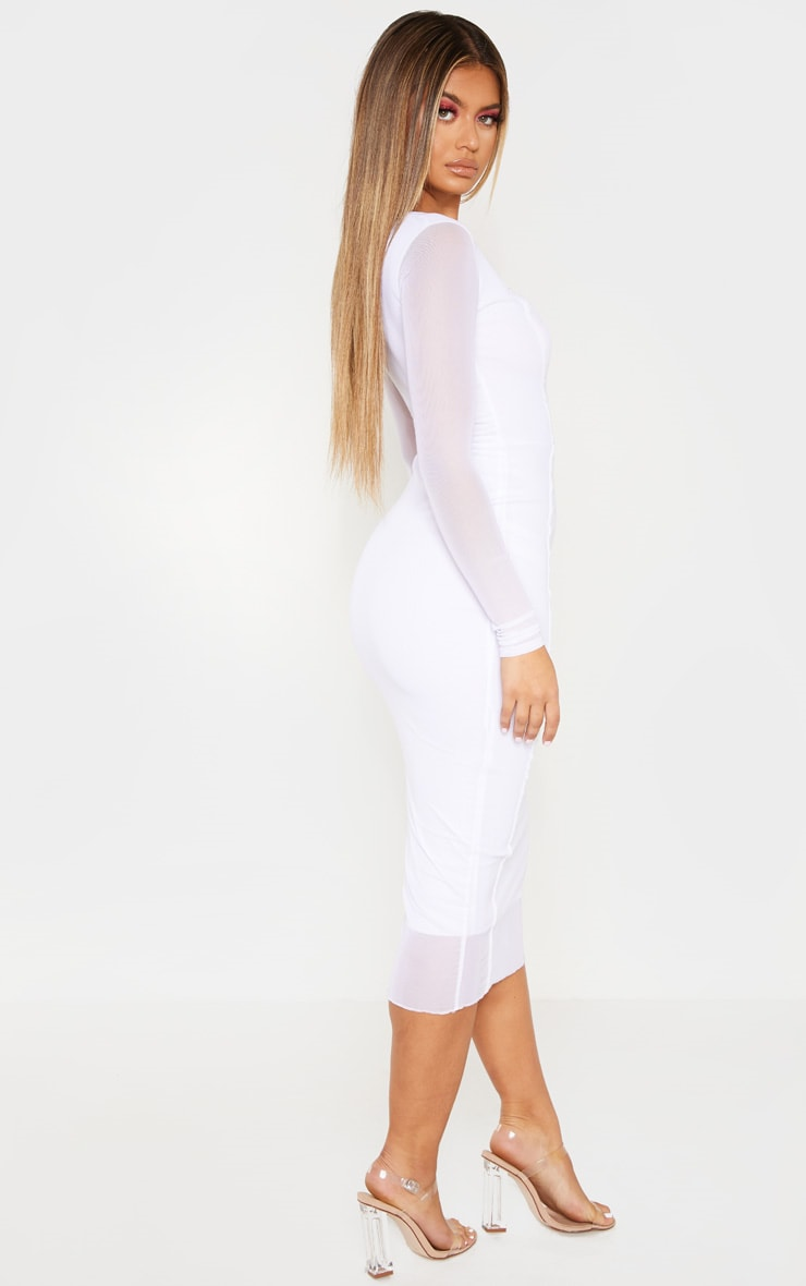 White Mesh Binding Detail Long Sleeve Midi Dress 2