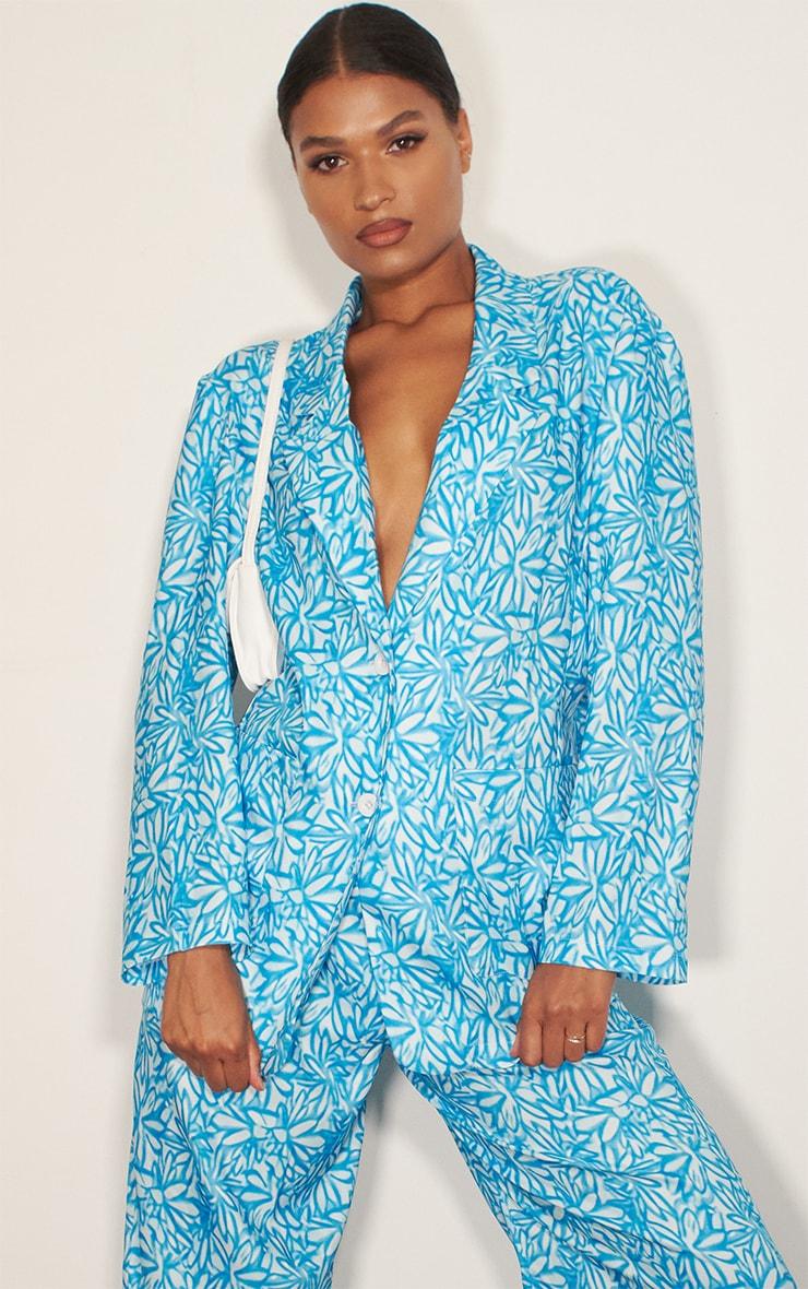 Blue Floral Print Oversized Blazer 1