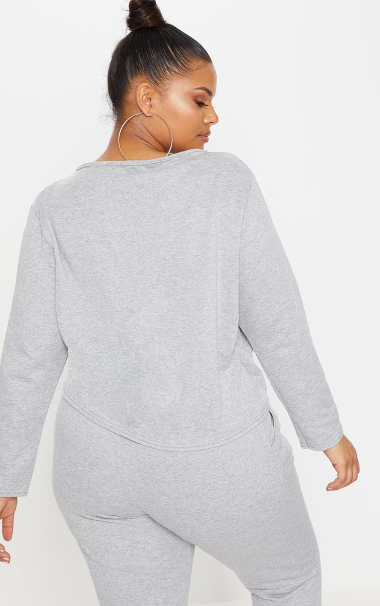Plus Grey Marl Tie Detail Sweater 2