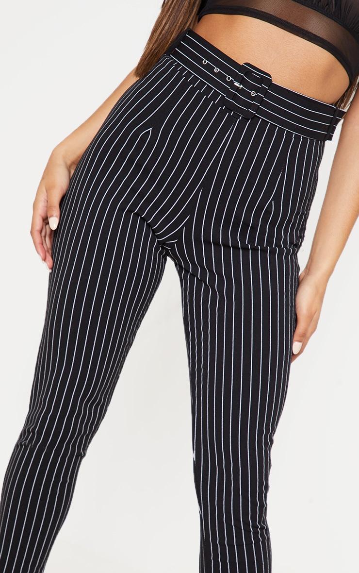 Black Pinstripe Belted Waist Skinny Trouser 5