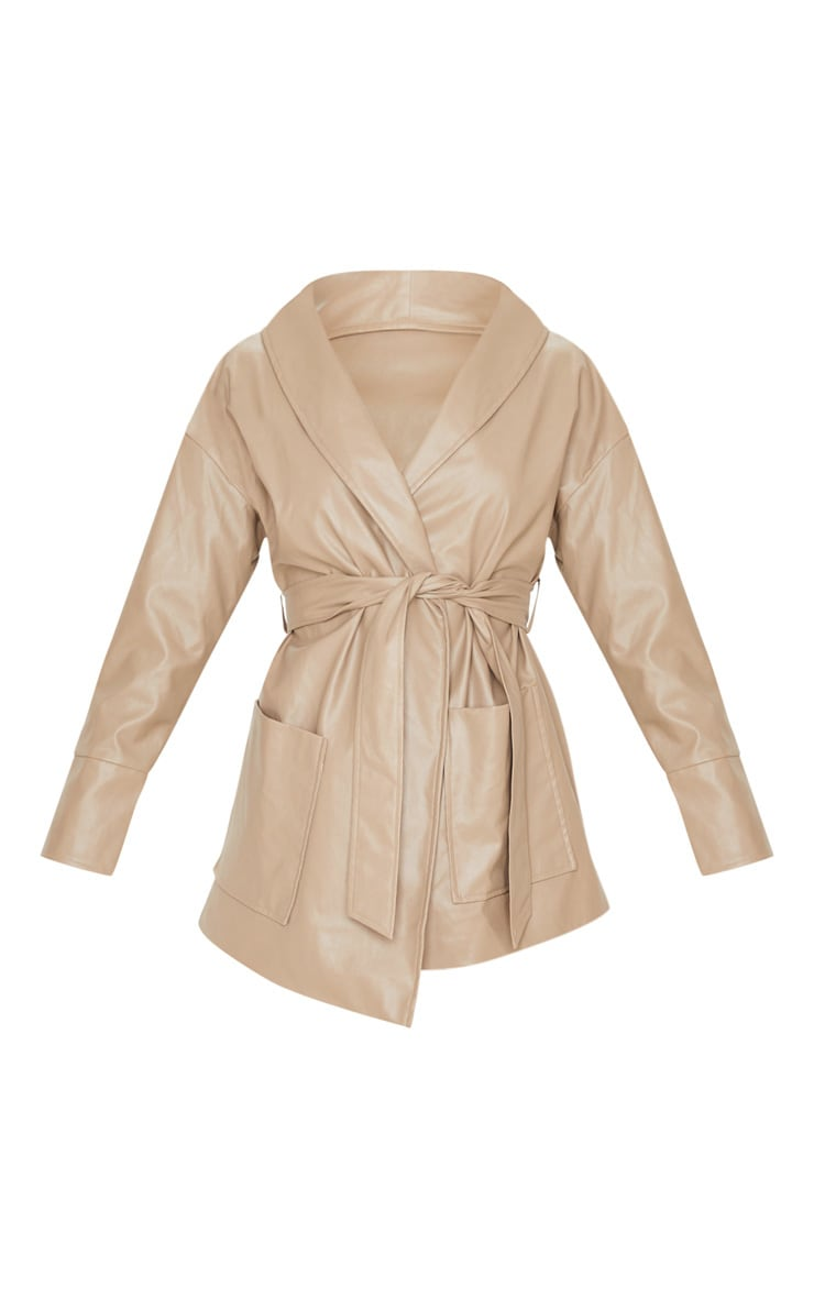 Taupe PU Longline Belted Jacket 3