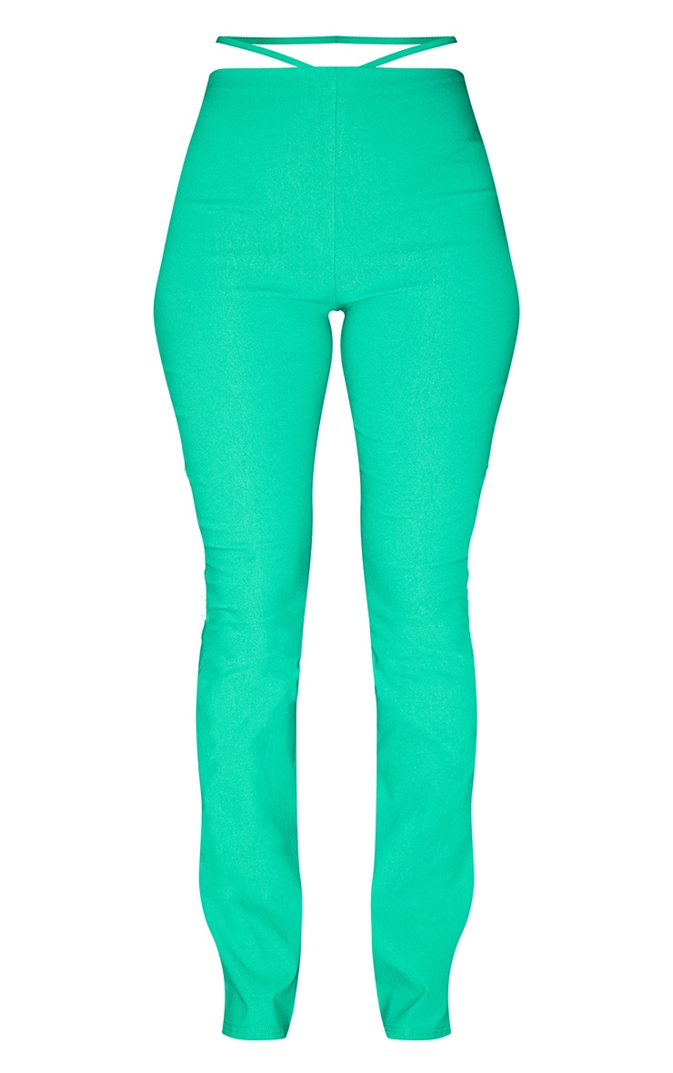 Bright Green Stretch Woven Cut Out Detail Skinny Flared Trousers 5