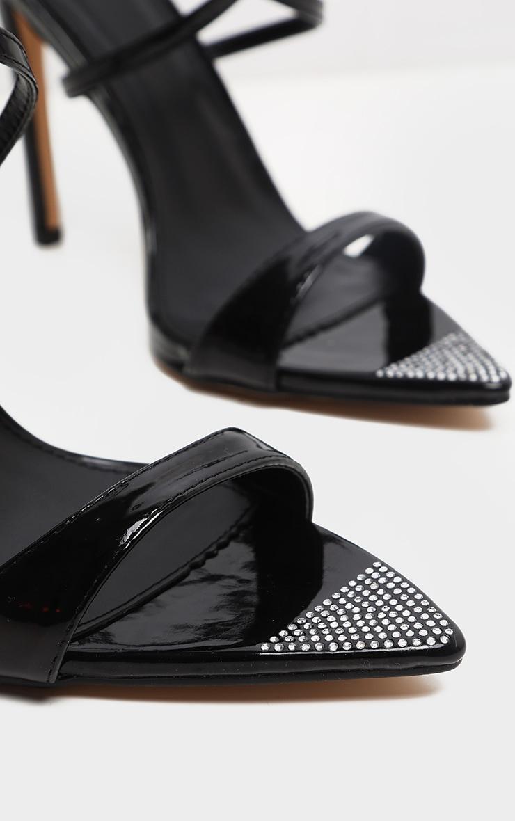 Sandales pointues noires à brides et strass 4