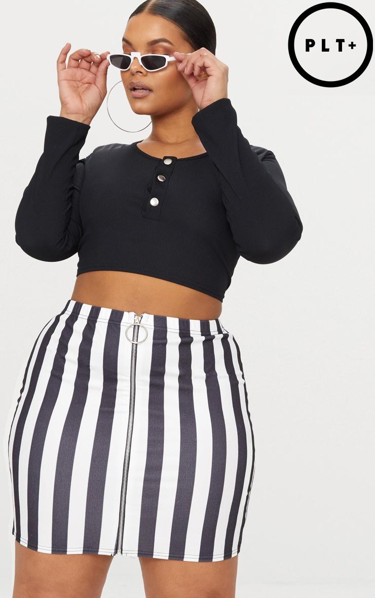 Plus Black Ring Pull Detail Striped Mini Skirt 1