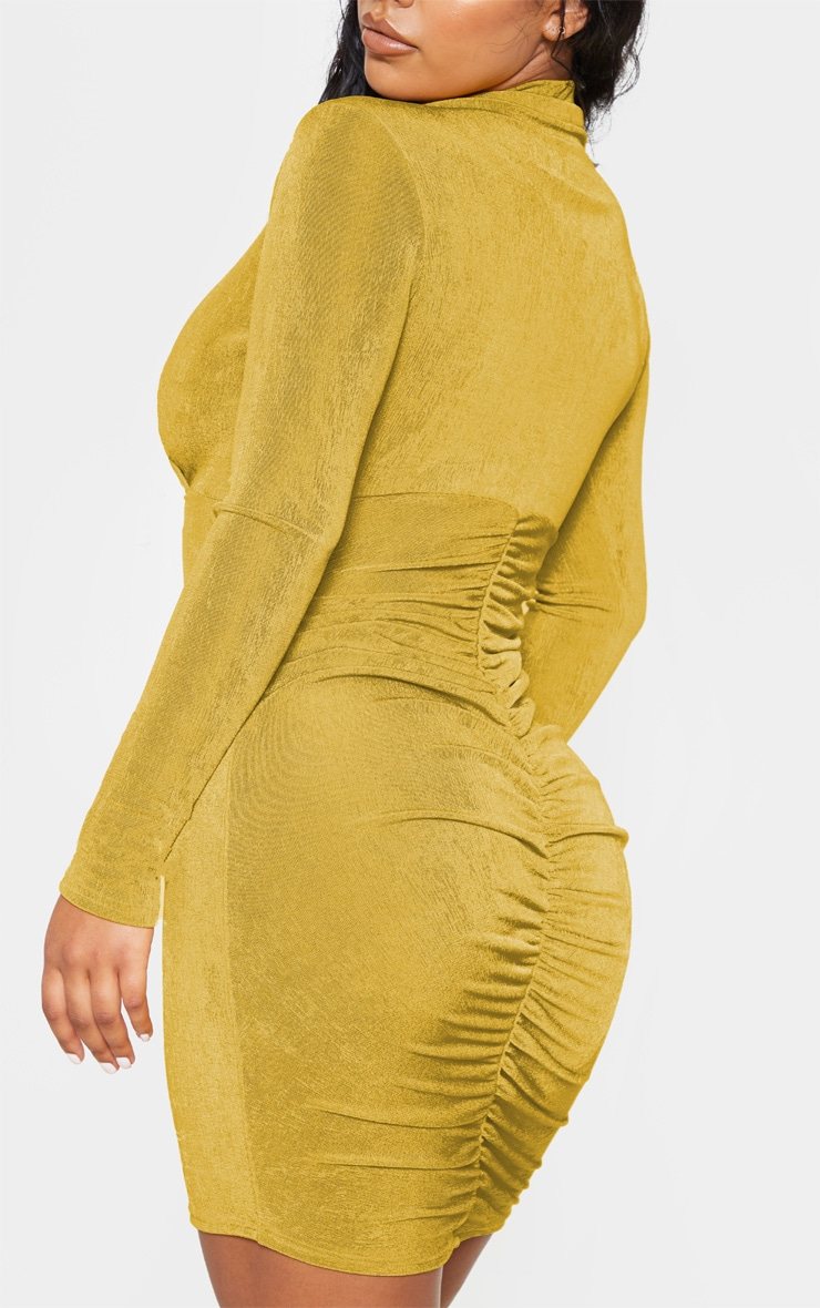 Chartreuse Textured Slinky Long Sleeve High Neck Ruched Back Bodycon Dress 5