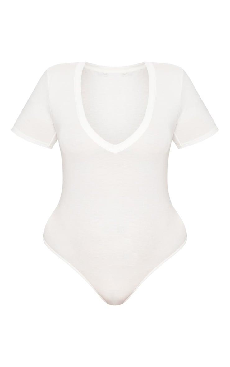 Plus White Jersey V Neck Bodysuit 4