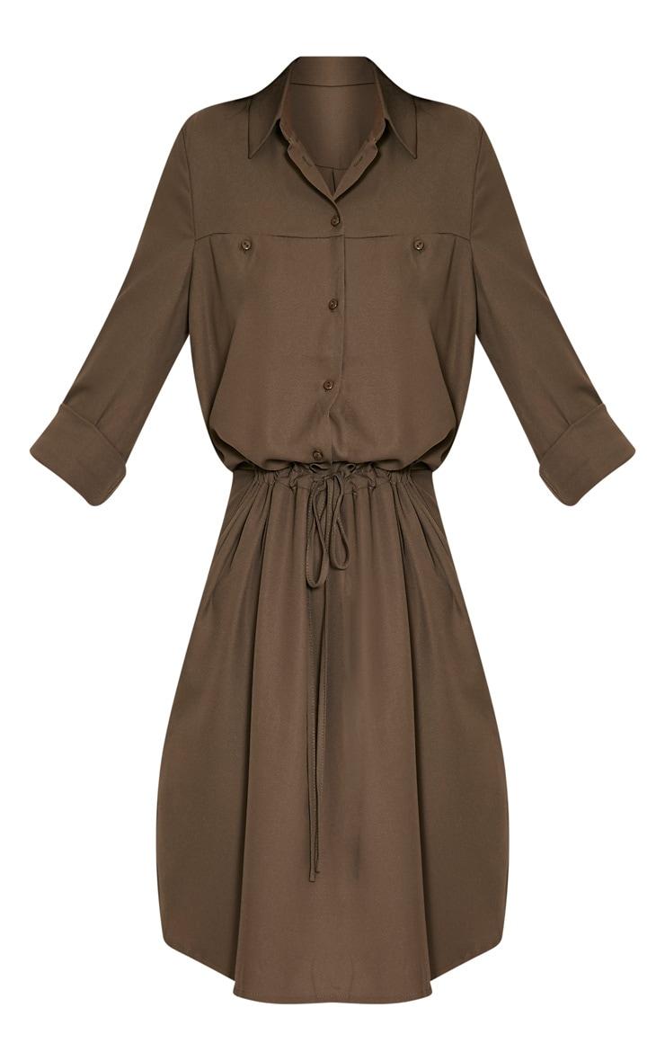 Madalie Khaki Tie Waist Shirt Dress 3