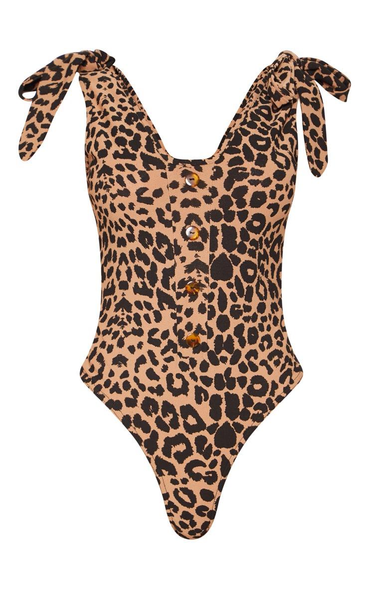 Tan Leopard Print Tie Detail Bodysuit 3