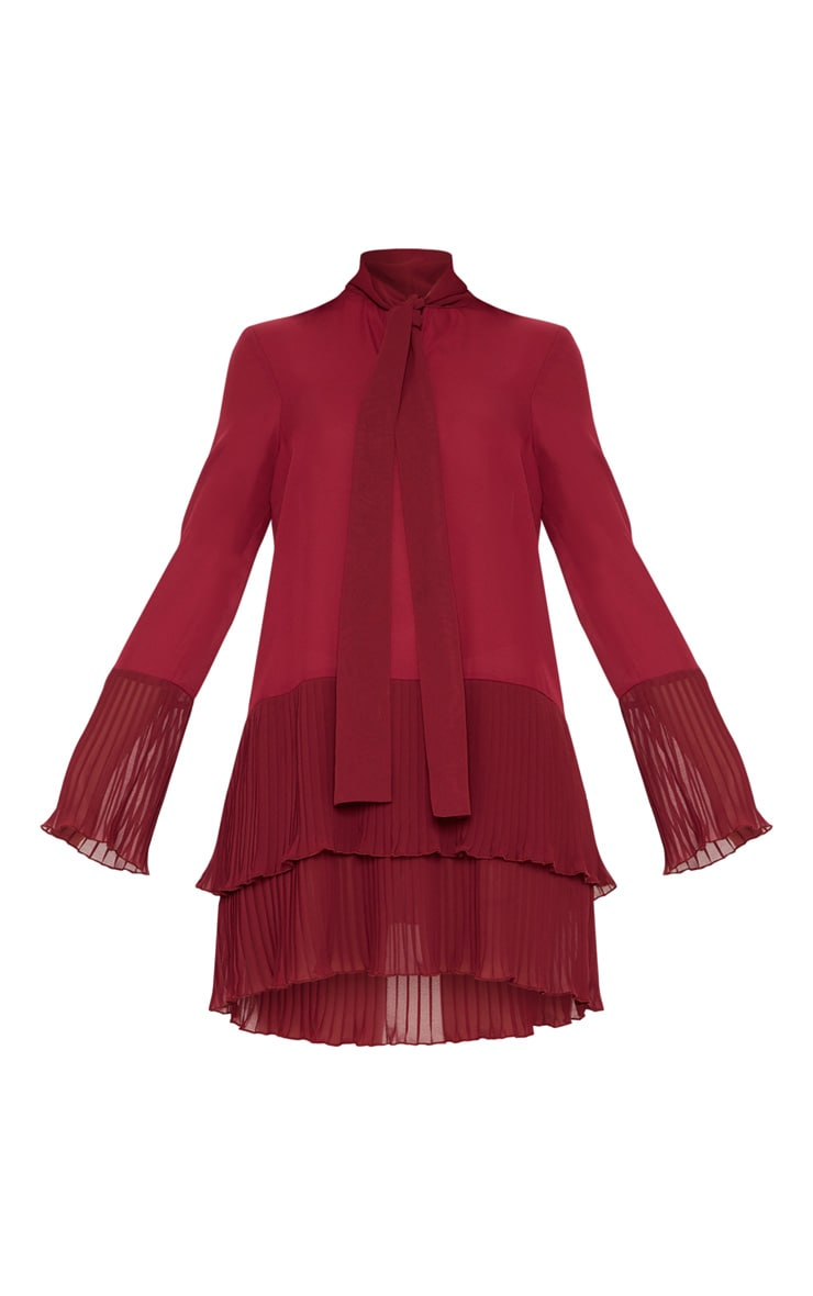Burgundy Neck Tie Double Frill Pleated Layer Hem Shift Dress 3