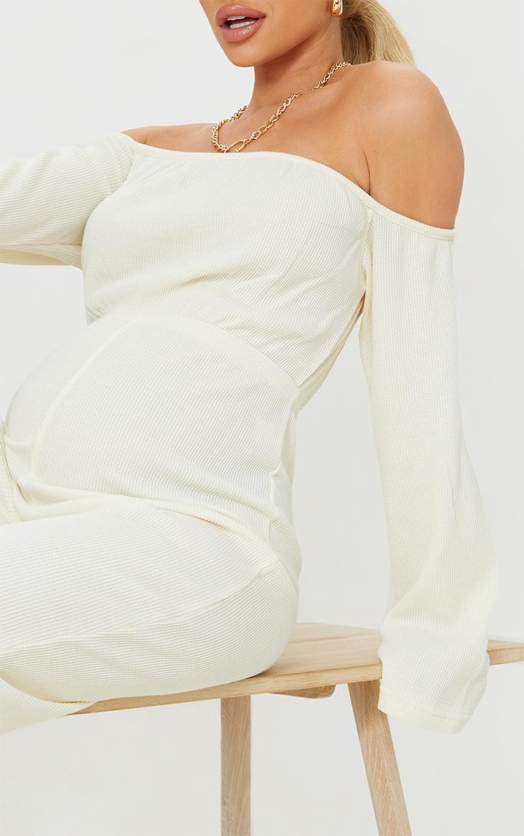 Maternity Cream Bardot Oversized Waffle Jumpsuit 4
