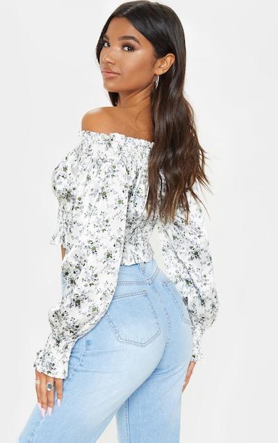 White Floral Printed Shirred Bardot Long Sleeve Crop Top