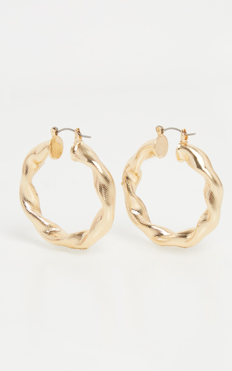 Gold Chunky Twist Hoops 2