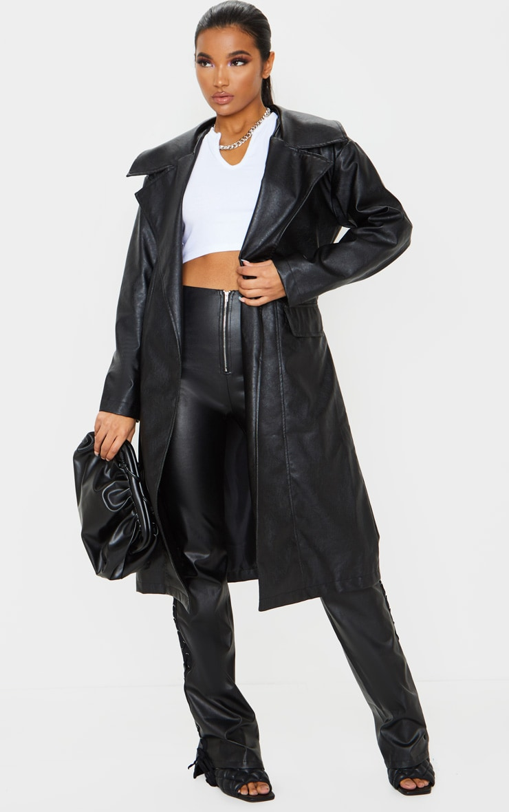 Black Faux Leather Oversized Midi Trench Coat 1
