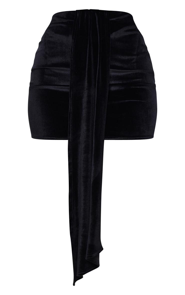Black Velvet Drape Detail Mini Skirt  3